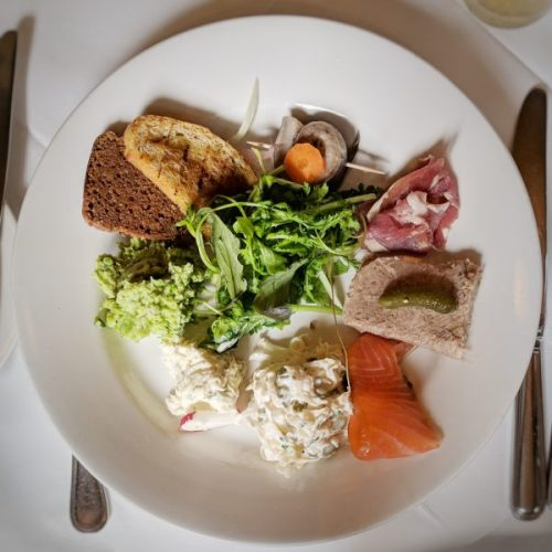 A plate of bread, dips and patés. Everything on that plate was gorgeous but the rollmops blew me away.