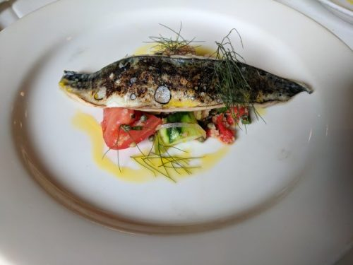 Charred mackerel with panzanella. Bliss.