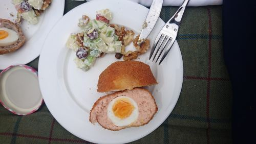 Salmon Scotch egg & Waldorf salad