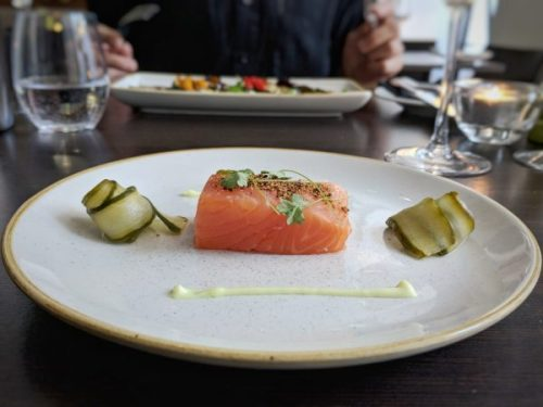 Edinburgh Gin cured salmon with pickled cucumber and lemon mayo. A perfect piece of fish.