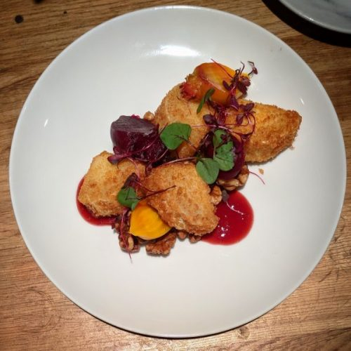 Crispy-fried goats cheese served with pickled beetroot (yum!) and cumberland sauce. St. Andrews Brewing Company.