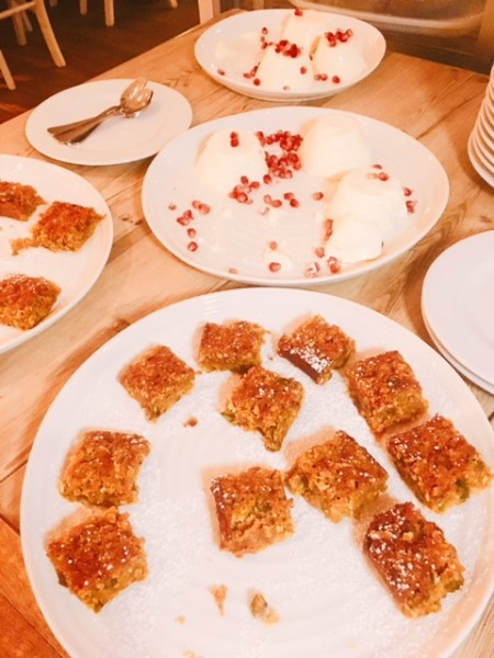 What a way to finish a Lebanese feast - Rose panna cotta and bite size morsels of carrot and saffron cake