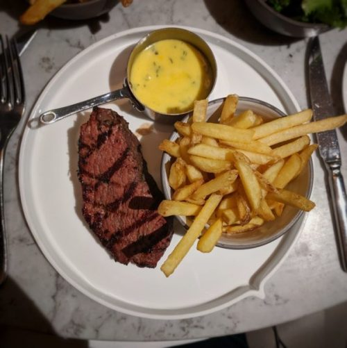 Steak frites - a classic that I played with, swapping the standard peppercorn sauce for Bearnaise.