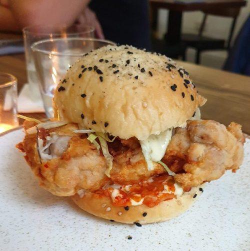 Chicken burger with kimchi