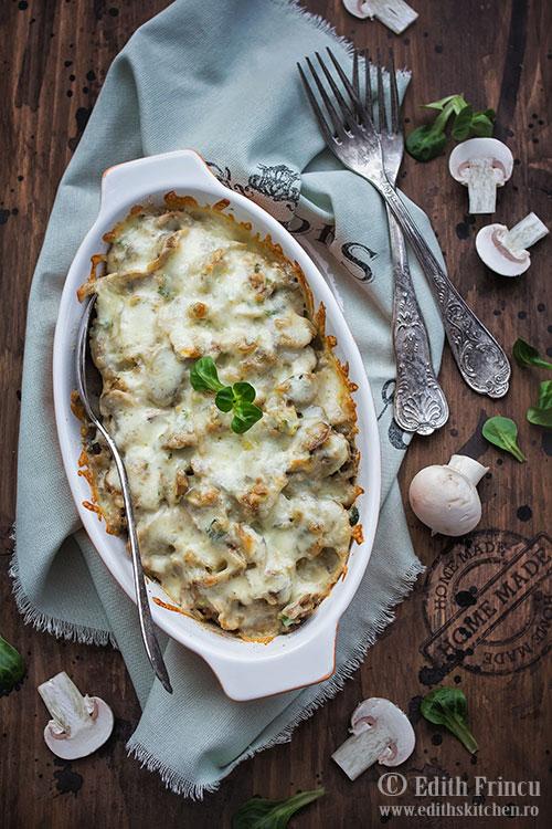 Ciuperci gratinate cu mozzarella