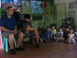 Bible story at Pastor Jojo's