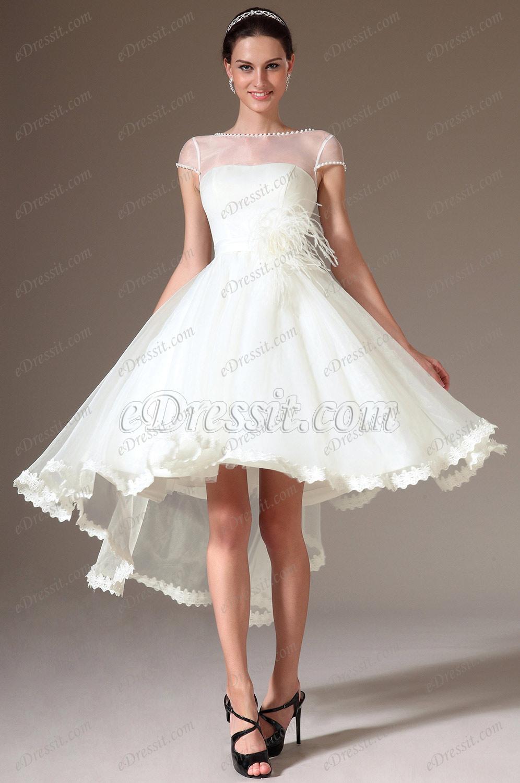 edressit sheer top cap sleeves high low wedding dress p sheer top wedding dress