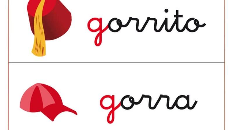 Fichas de letras que comienza con la letra g y fichas de vocabulario con la g.