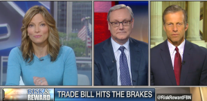 """Ed Conard and Sen. John Thune discuss President Obama's proposed legislation that would give him the ability fast-track the international trade deal on Fox Business News's """"Risk and Reward with Deirdre Bolton""""."""