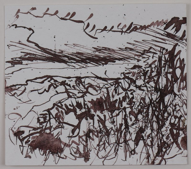 Hillside Trees - pen and ink on paper - 10x10cm - April 2011