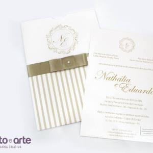 Convite Cannes com laço chanel | Nathália & Eduardo