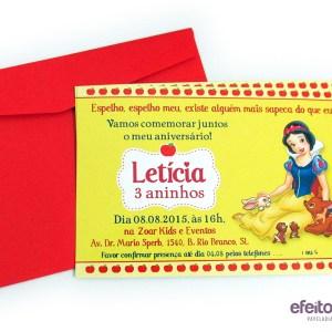 Convite 10x15cm com envelope | Branca de Neve