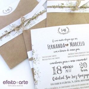 Convite Amsterdam em papel kraft, acabamento com faixa impressa | Fernanda & Marcelo