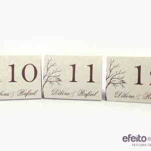 Números de mesa  em papel reciclado