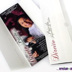 Convite 7,5 x 21cm em papel fotográfico com parte externa em papel metalizado | Direito