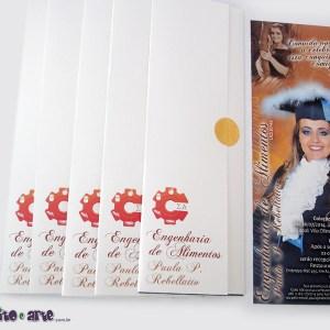 Convite 7,5 x 21cm em papel fotográfico com parte externa em papel metalizado | Engenharia de Alimentos