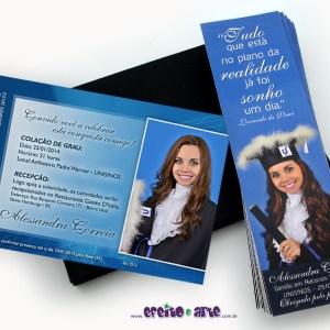 Convite 10x15cm em papel fotográfico + marcadores de página | Gestão em Recursos Humanos