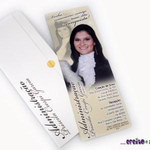 Convite 7,5 x 21cm em papel fotográfico com parte externa em papel metalizado | Administração