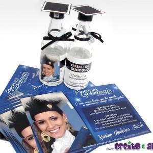 Convite 10x15cm em papel fotográfico + garrafinhas com barrete e diploma