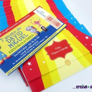 Convite ingresso com envelope personalizado | Circo