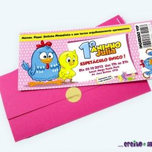 Convite ingresso com envelope | Galinha Pintadinha