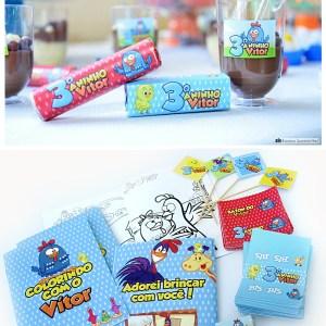 Rótulos para chocolate Baton, Bis e Copinho brigadeiro | Galinha Pintadinha
