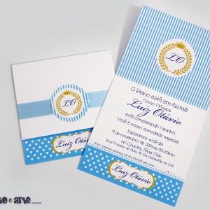 Convite Luiz Otávio | Príncipe Azul com detalhe em fita de cetim | Príncipe
