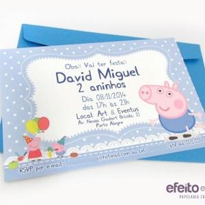 Convite 10x15cm com envelope | George e Peppa Pig