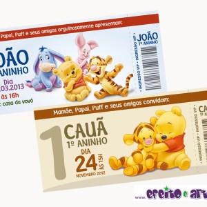 Convite ingresso com envelope | Ursinho Pooh