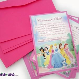 Convite 10x15cm com envelope | Princesas