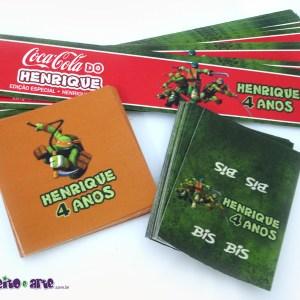 Rótulos para mini refrigerante, chocolate Baton e Bis | Tartarugas Ninjas