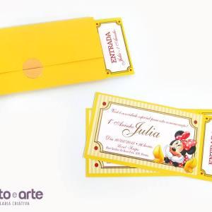 Convite ingresso com envelope | Minnie