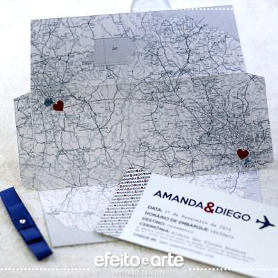 Convite Barcelona   Convite interno simulando bilhete de passagem, e envelope com mapa impresso