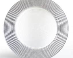 silver glitter rim glass charger plate service plate