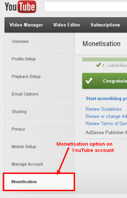 Monitisation option on YouTube account How to Associate Youtube with Google Adsense Account
