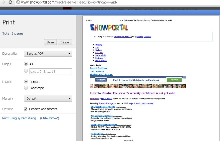 page web to pdf chrome