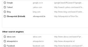 Google Chrome managing search engine
