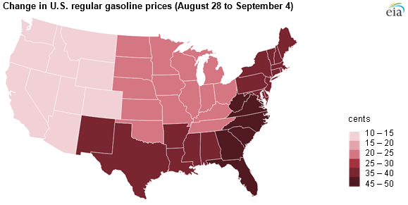 map of U.S. gasoline prices, as explained in the article text