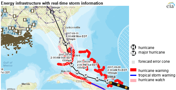 map of energy infrastructure and real-time storm information, as explained in the article text