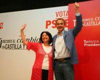 Ángela Marqués y Zapatero durante el mitin que ofrecieron en Ponferrada (C.Sánchez / Ical)