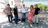 Los alcaldes de Torre, Igüeña, La Robla, Fabero y La Pola antes de la reunión con Herrera