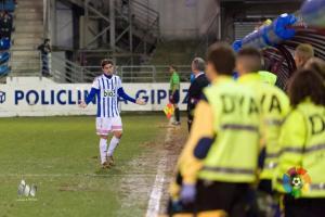 Berrocal, durante un partido con la Deportiva. (LFP)