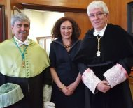 El nuevo rector de la ULE, Juan Francisco García Marín, la alcaldesa de Ponferrada, Gloria Fernández Merayo, y el antiguo rector, José Ángel Hermida.