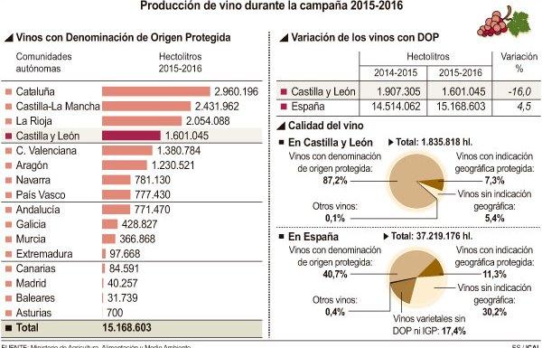 Producción de vino durante la campaña 2015-2016. (Fuente: Ical)