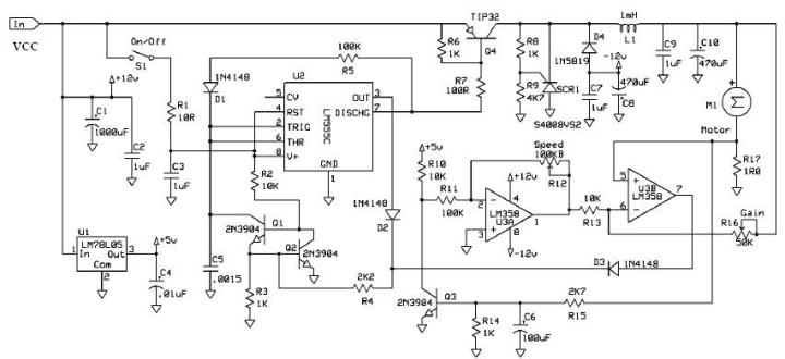 sd control of dc motor using pwm using 555 timer