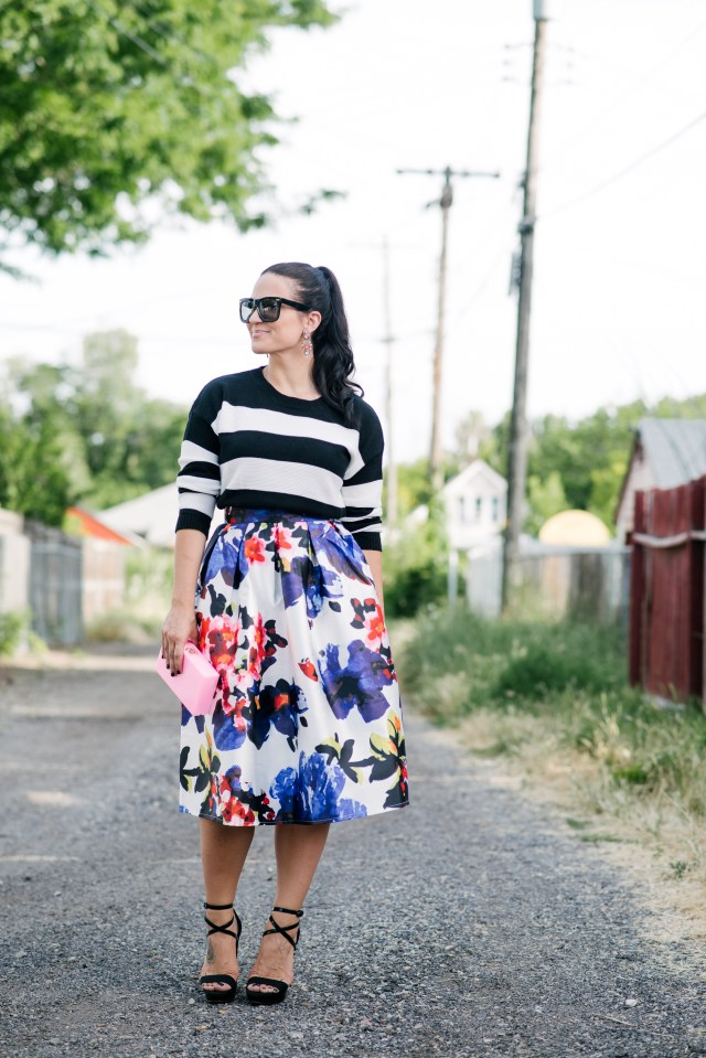 Mixing Floral Print and Stripes