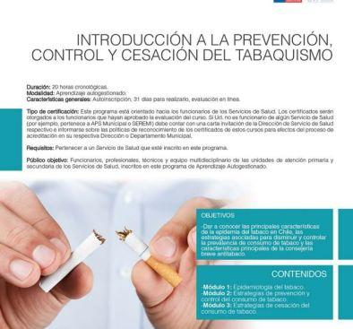 curso cesación del consumo de tabaco ministerio de salud chile