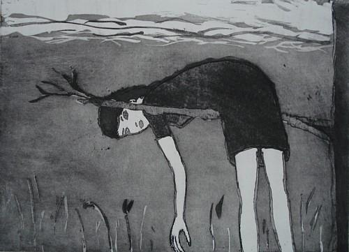 An einem Ast hängend, Aquatinta, 18 x 25 cm, 2009