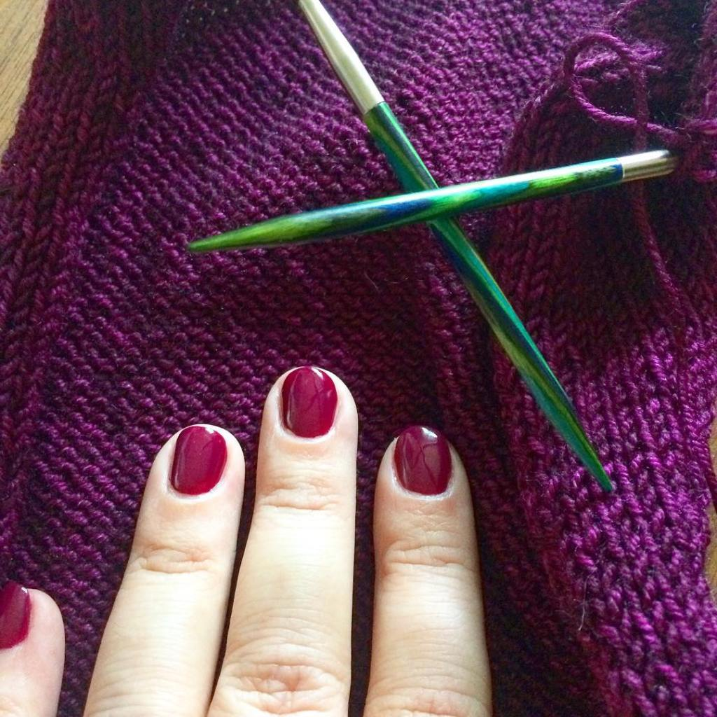 When your manicure matches your knitting