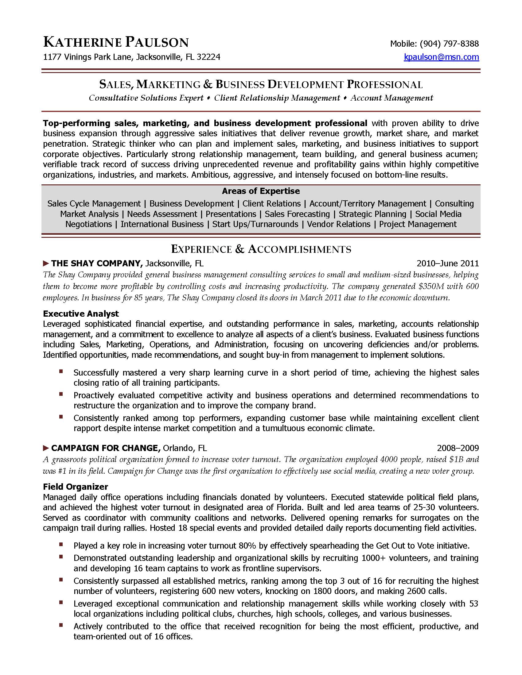 Director of economic development resume
